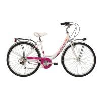Bicicleta Adriatica Panda 26 Lady 6V alb/roza 42 cm