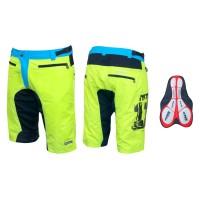 Pantaloni scurti MTB Force F-11 cu interior detasabil galben fluorescent S