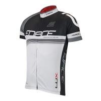 Bluza ciclism Force Lux maneci scurte negru/alb XXL