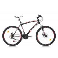 Bicicleta Robike Cougar DD 26 negru/rosu 2016-480 mm
